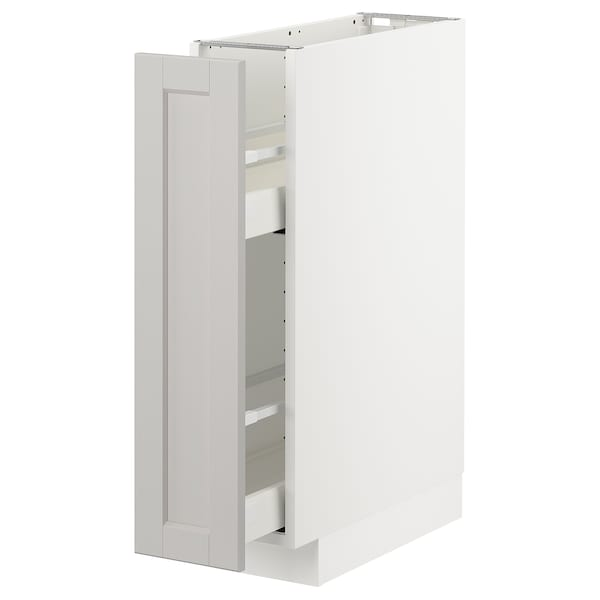 METOD Base cabinet/pull-out int fittings, white/Lerhyttan light grey, 20x60 cm