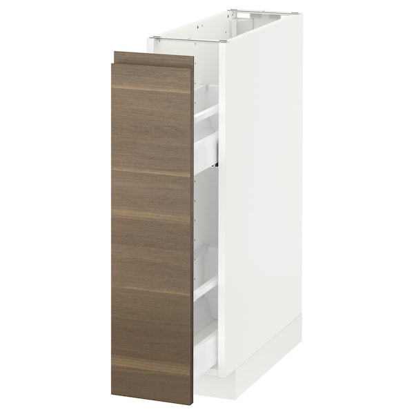 METOD Base cabinet/pull-out int fittings, white/Voxtorp walnut, 20x60 cm
