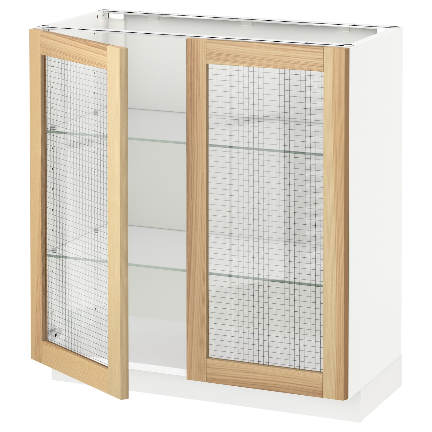 IKEA METOD base cabinet with 2 glass doors Sturdy frame construction, 18 mm thick.