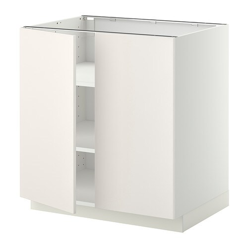 METOD Base cabinet with shelves/2 doors IKEA You can customise spacing as you need, because the shelves are adjustable.