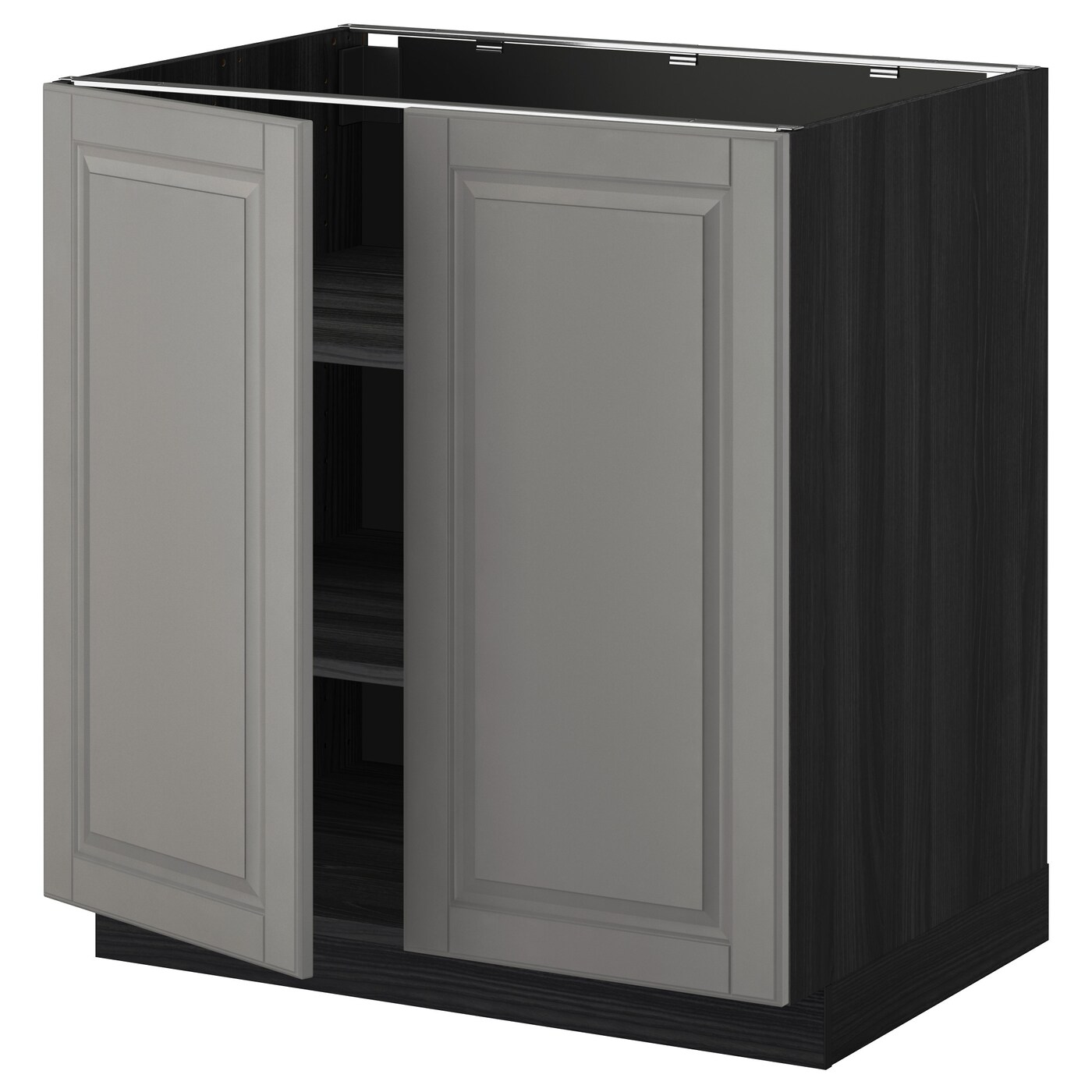 METOD Base Cabinet With Shelves/2 Doors Black/bodbyn Grey 80x60 Cm