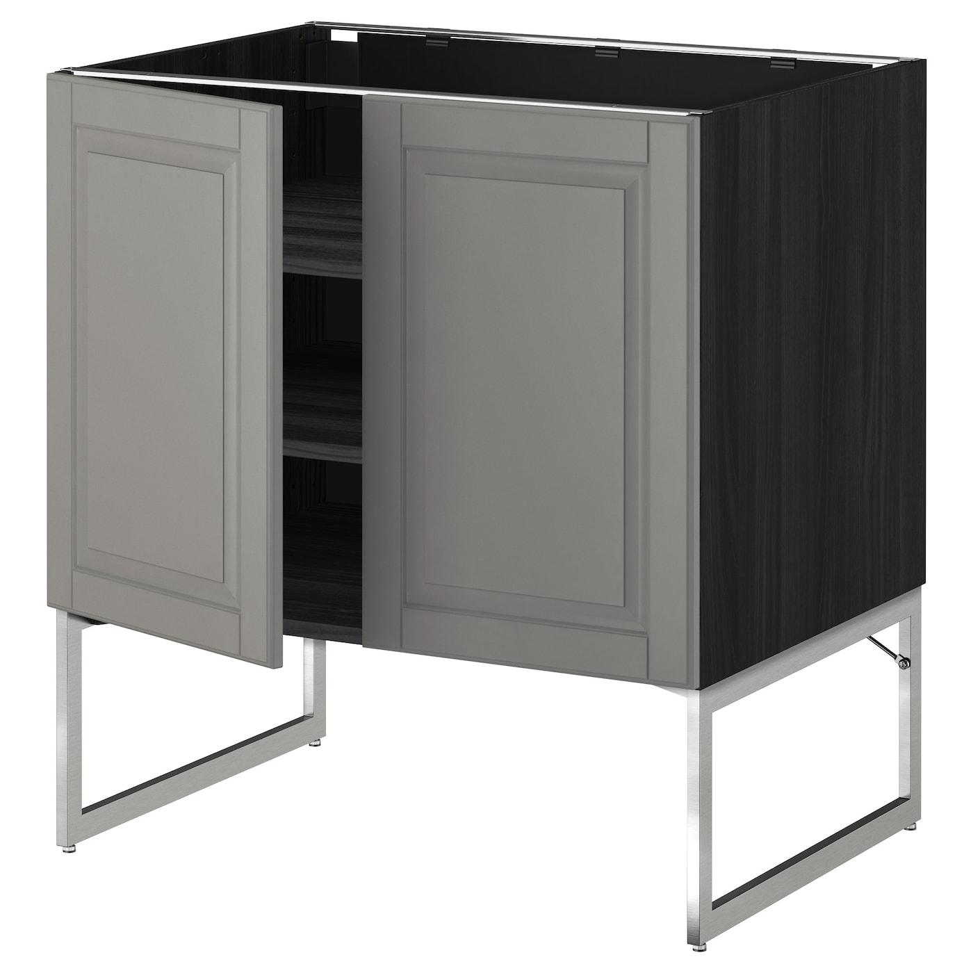 METOD Base Cabinet With Shelves/2 Doors Black/bodbyn Grey 80x60x60 Cm