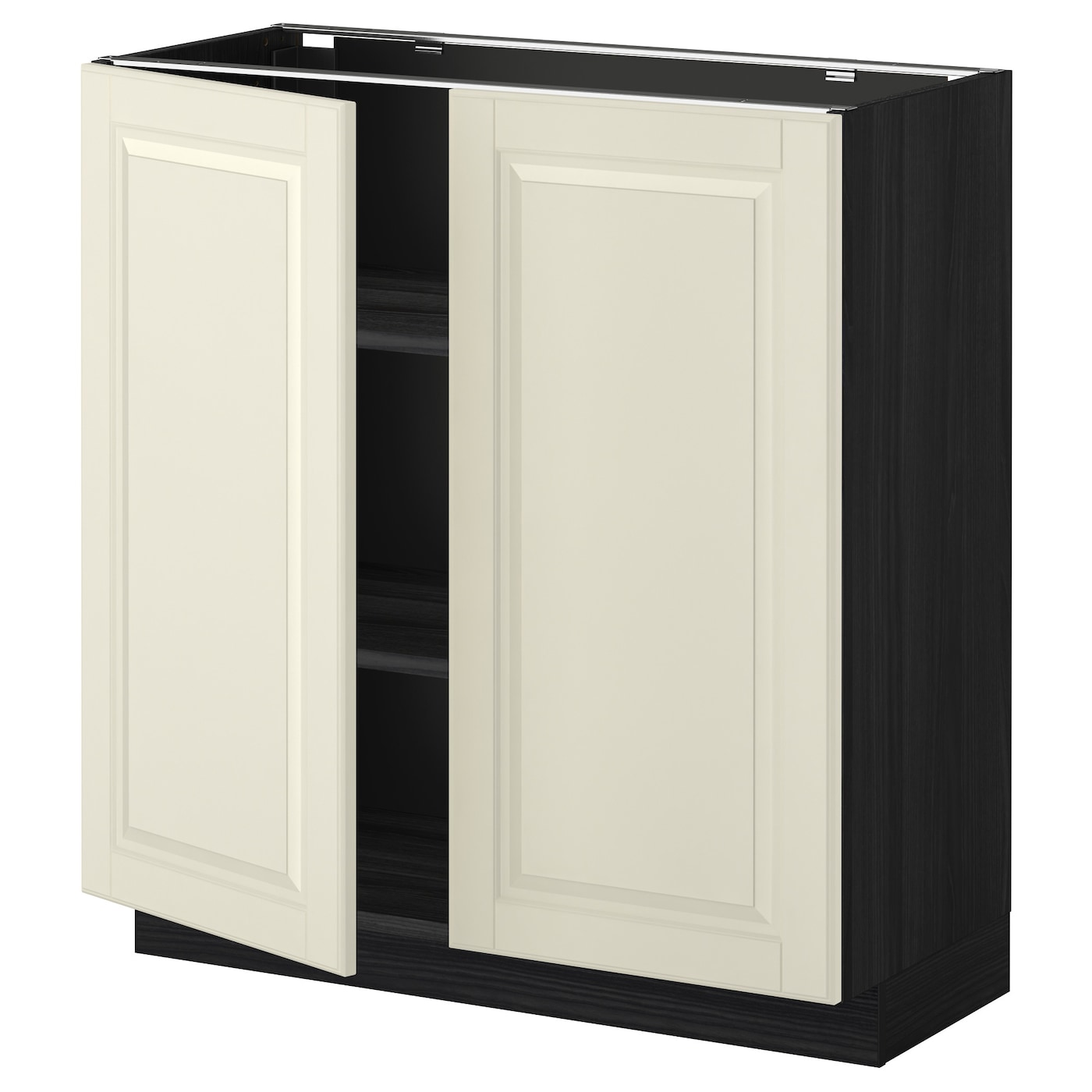 Metod base cabinet with shelves 2 doors black bodbyn off for Off the shelf cabinets