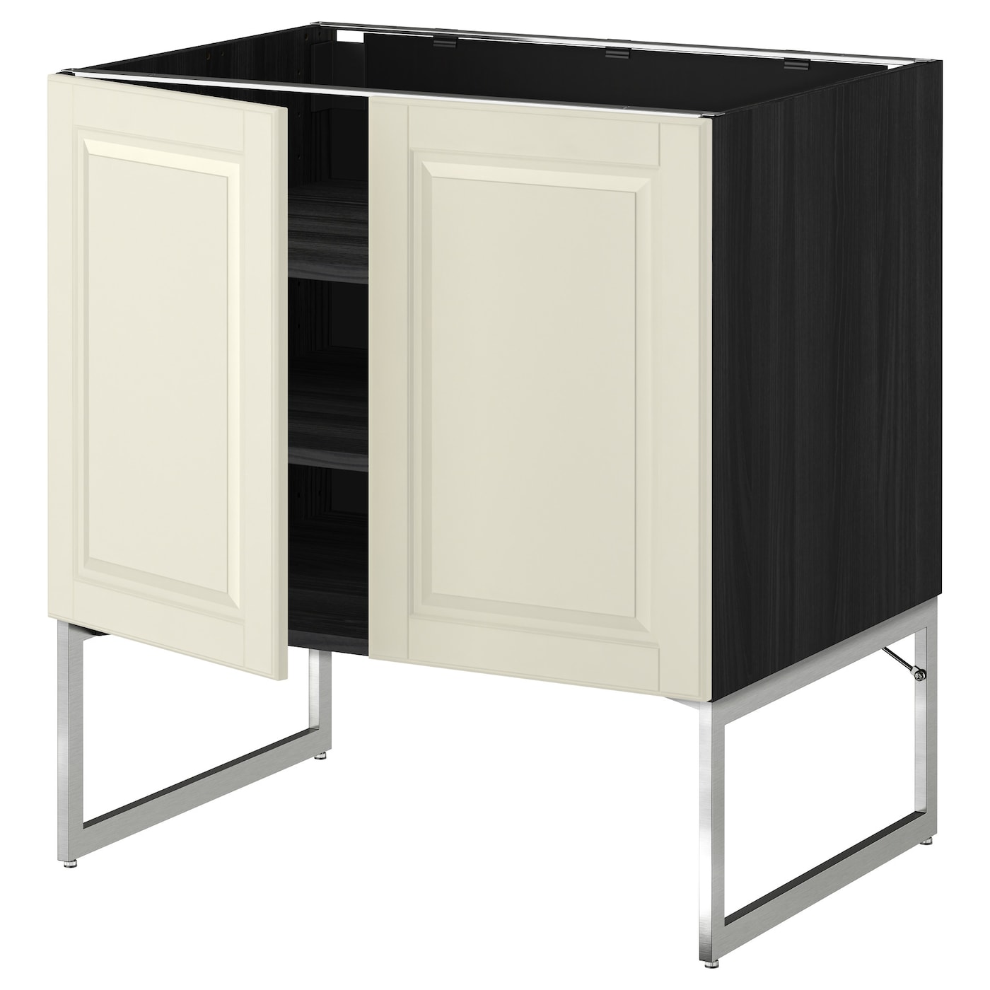 METOD Base Cabinet With Shelves/2 Doors Black/bodbyn Off