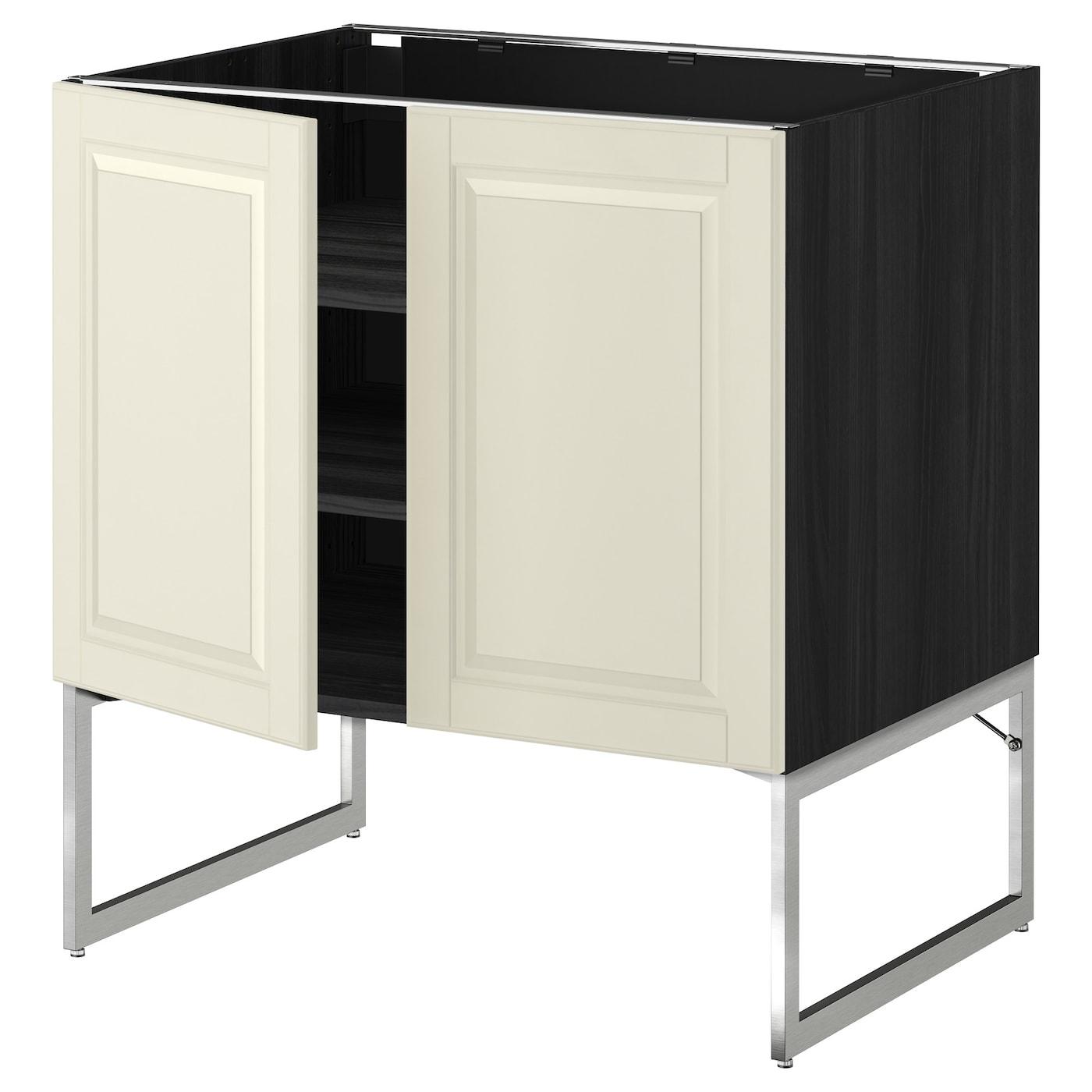 Metod Base Cabinet For Sink Black Järsta Orange 60x60 Cm: METOD Base Cabinet With Shelves/2 Doors Black/bodbyn Off