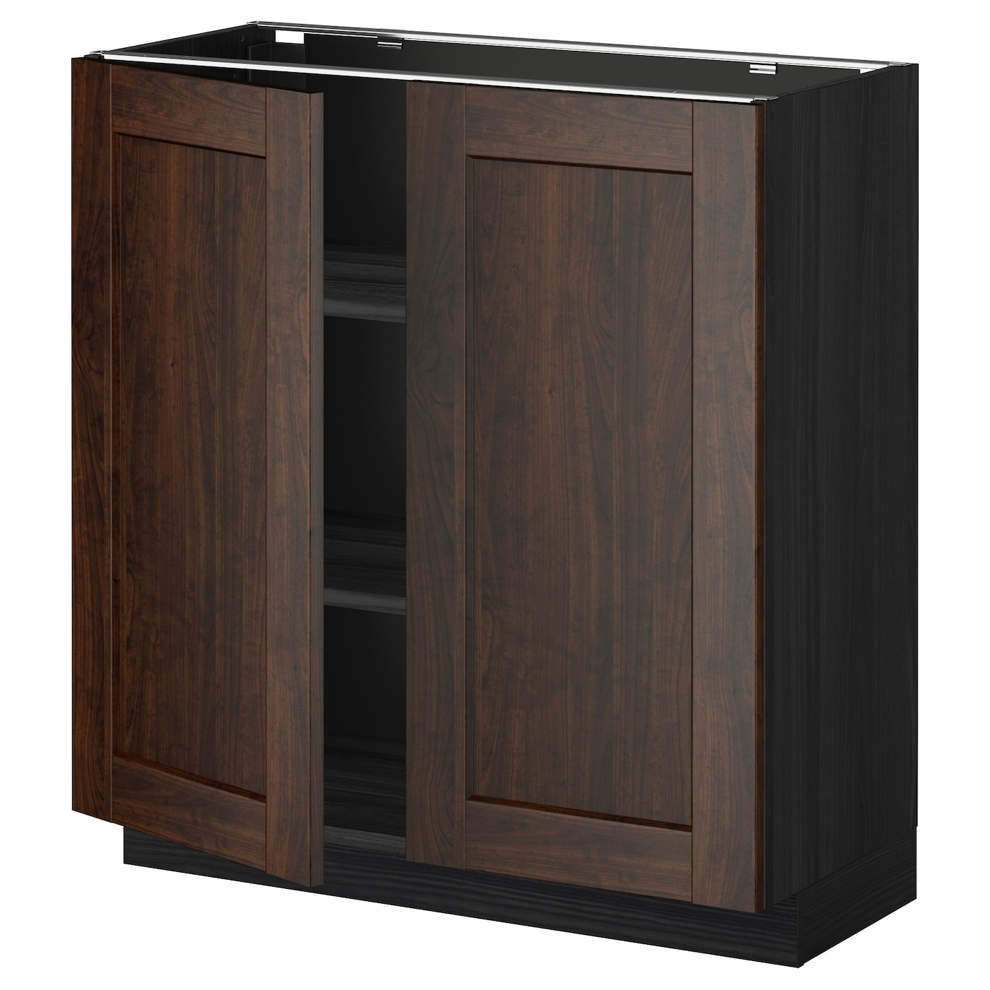 Metod base cabinet with shelves 2 doors black edserum for Black cabinet with doors