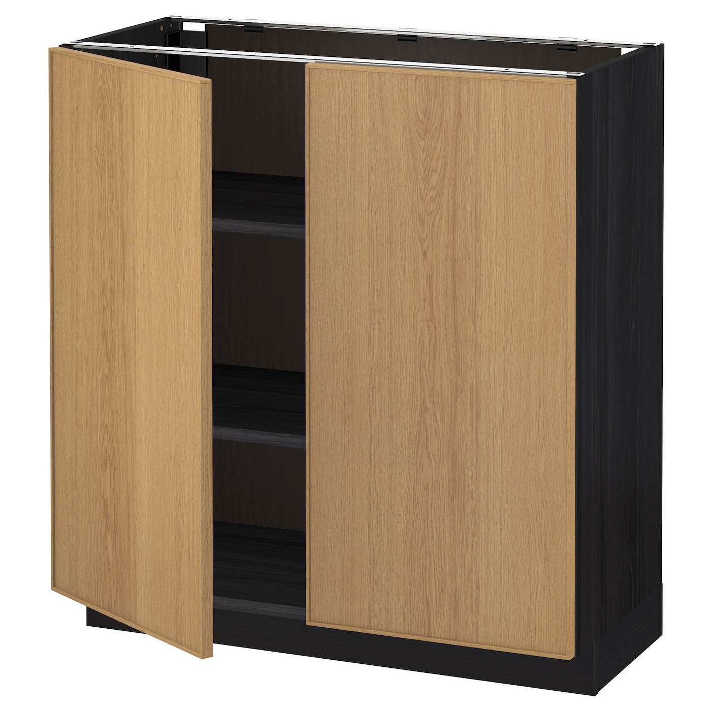 Metod base cabinet with shelves 2 doors black ekestad oak for Black cabinet with doors