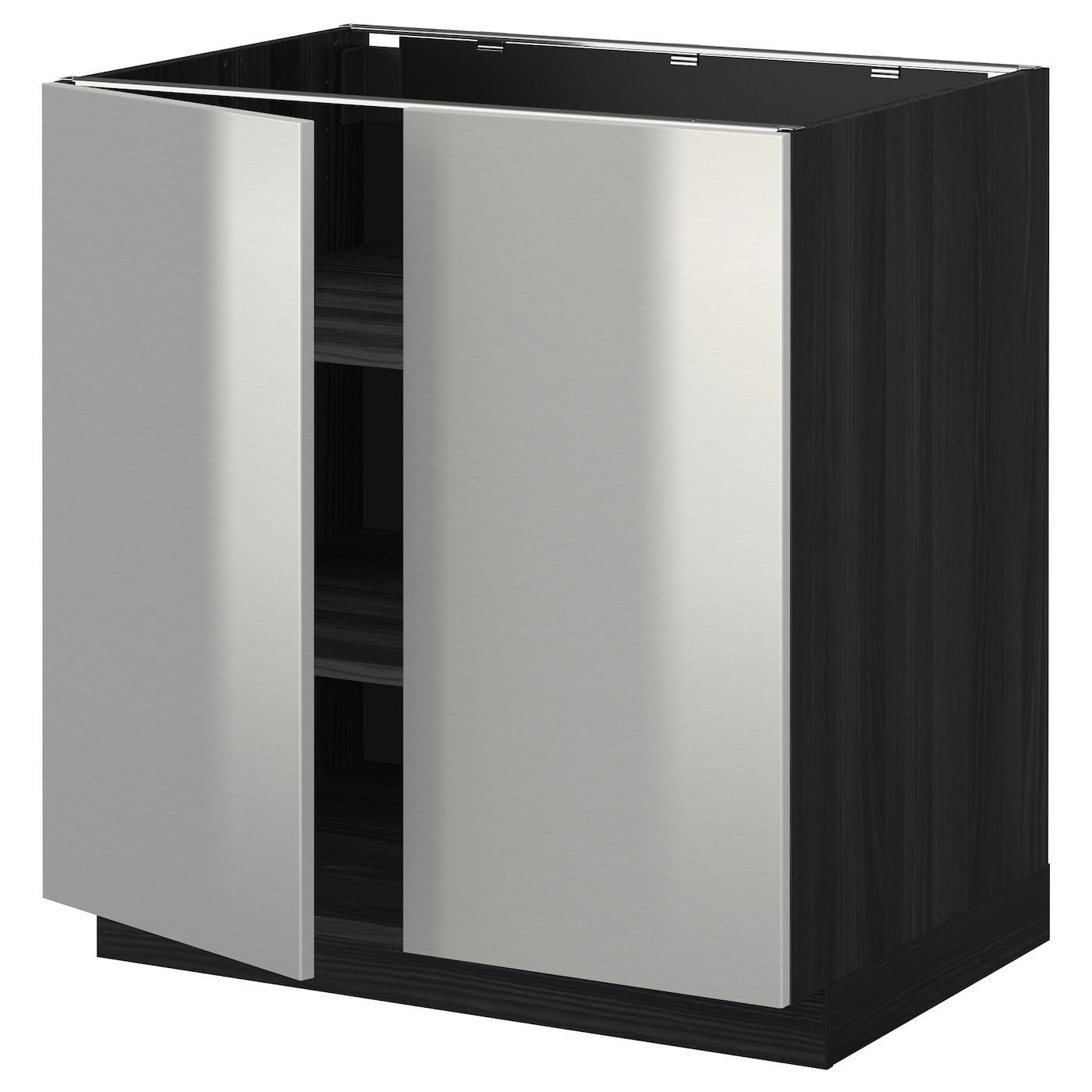 Metod base cabinet with shelves 2 doors black grevsta for Metal cabinet doors kitchen