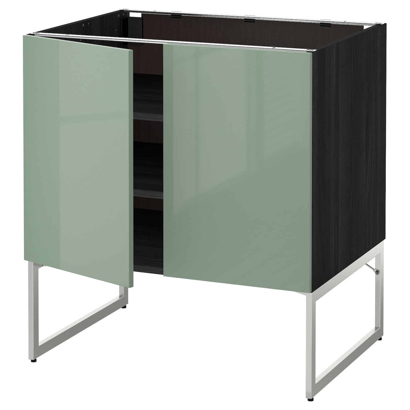 Ikea Kitchen Cabinet Lighting: METOD Base Cabinet With Shelves/2 Doors Black/kallarp