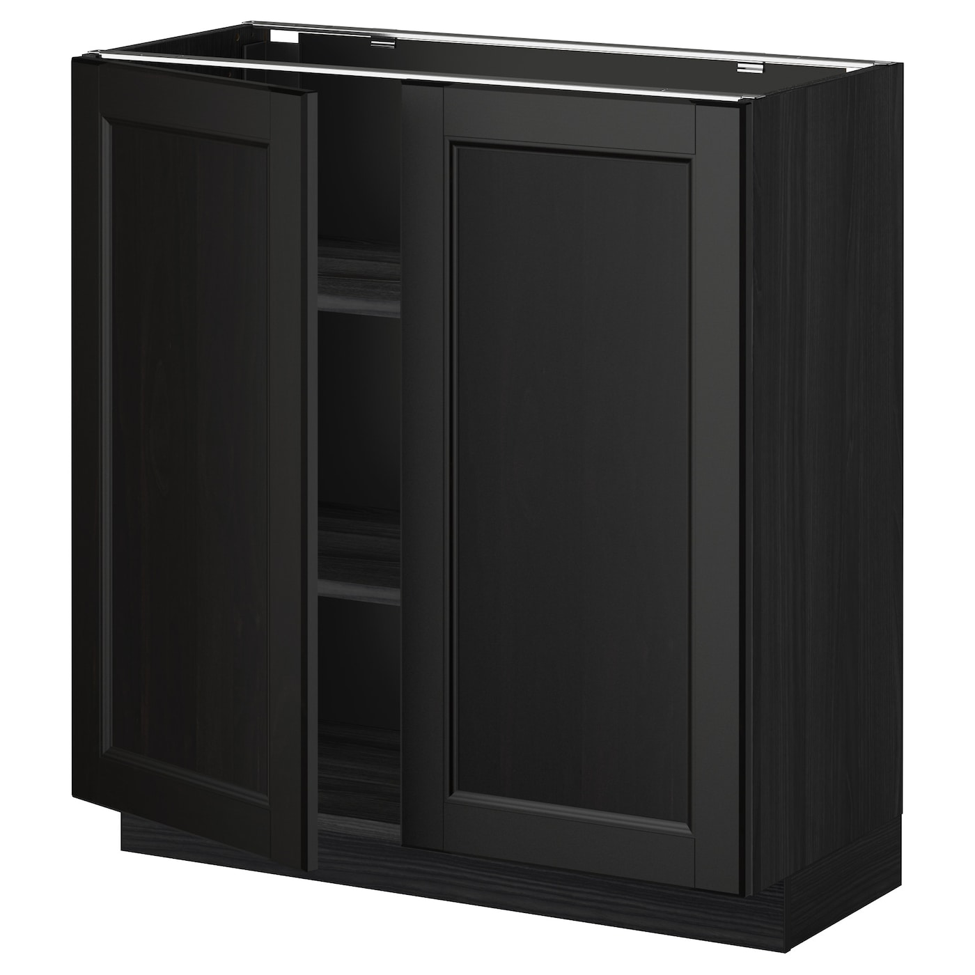 Metod Base Cabinet With Shelves 2 Doors Black Laxarby Black Brown 80x37 Cm Ikea