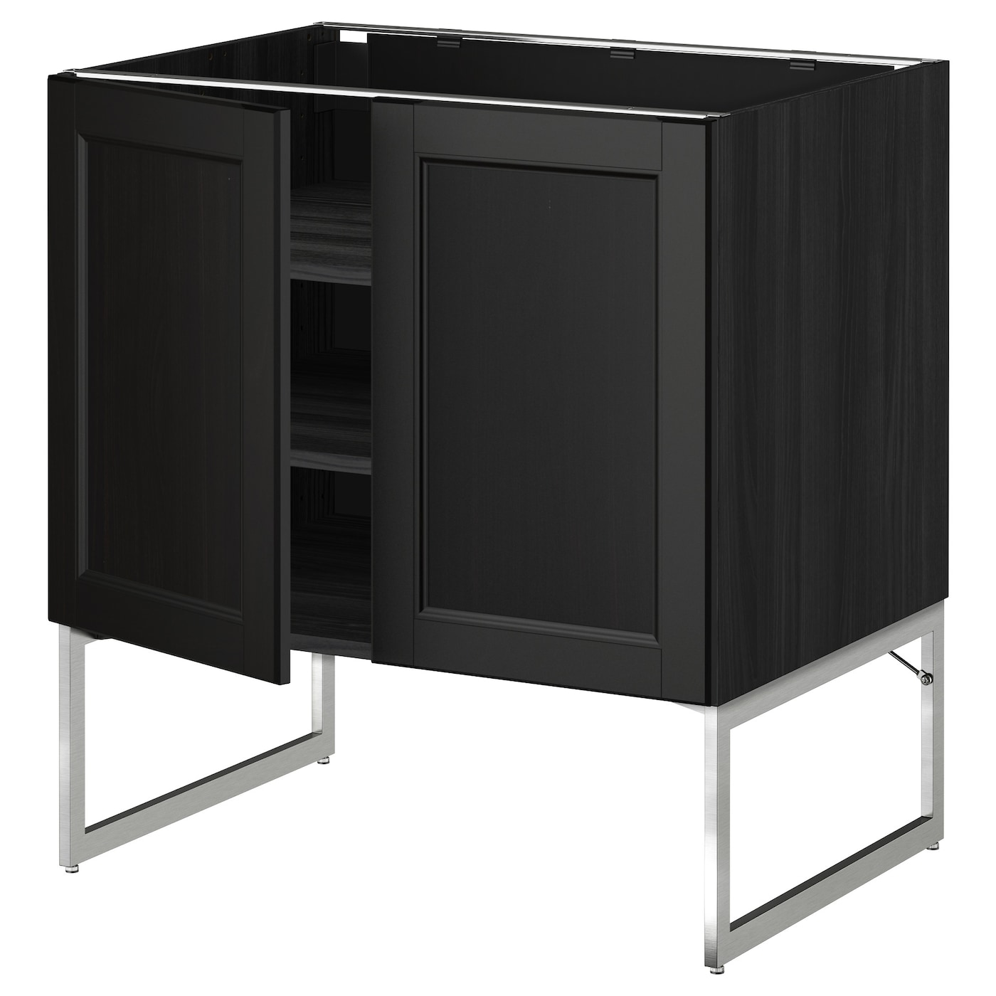 METOD Base Cabinet With Shelves/2 Doors Black/laxarby Black-brown 80x60x60 Cm