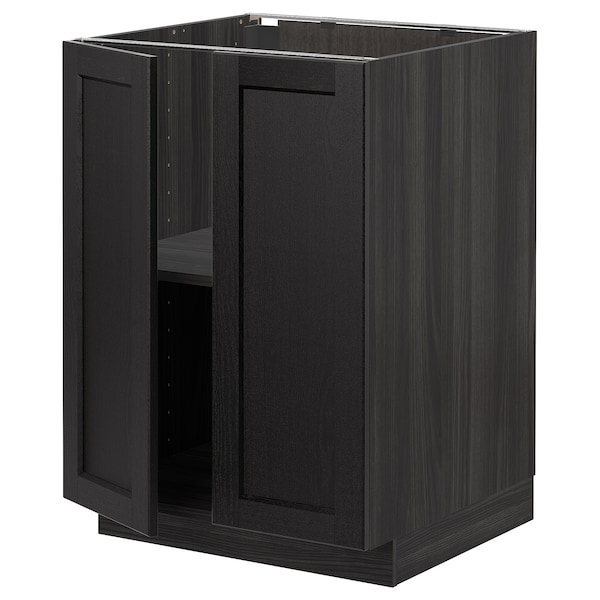 METOD Base cabinet with shelves/2 doors, black/Lerhyttan black stained, 60x60 cm