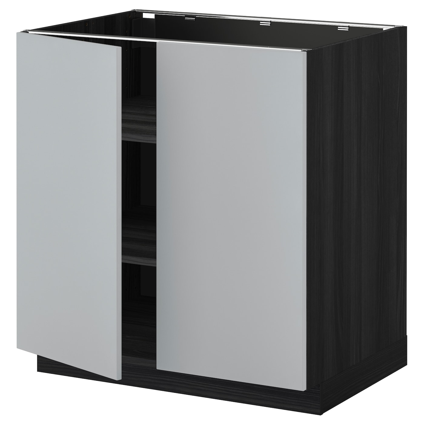 Metod base cabinet with shelves 2 doors black veddinge for Black cabinet with doors