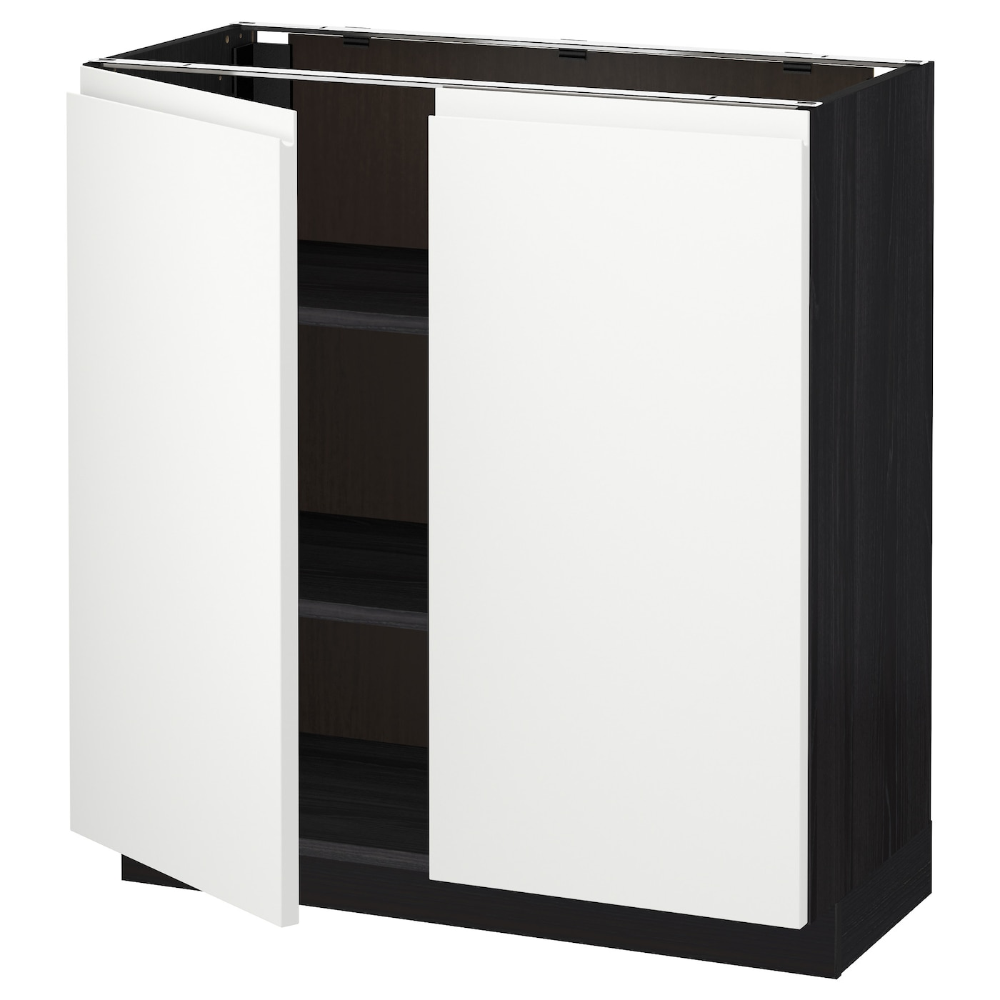 Metod base cabinet with shelves 2 doors black voxtorp for White cabinets with black doors