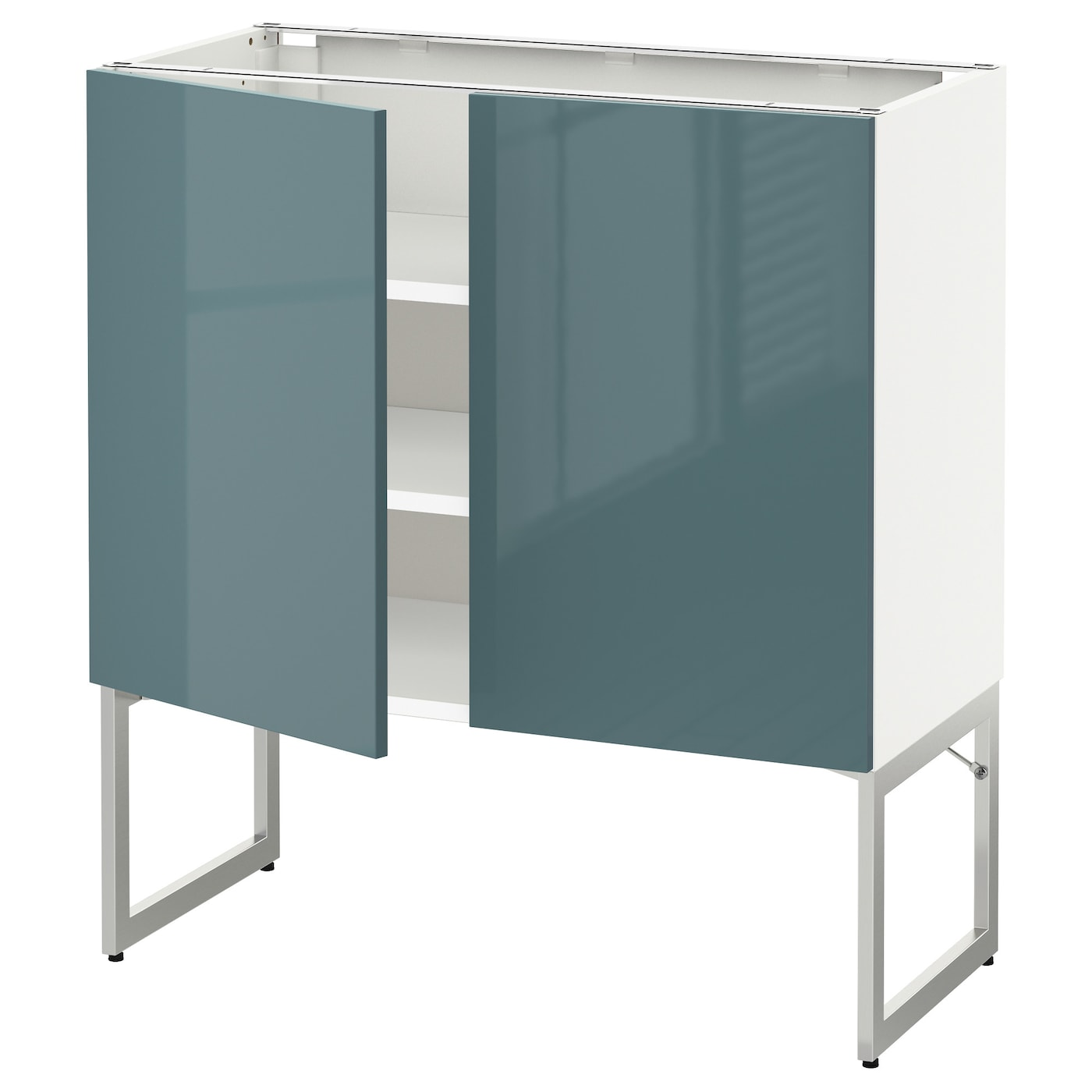Metod base cabinet with shelves 2 doors white kallarp grey for Ikea turquoise shelf