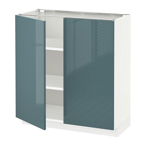 Metod Base Cabinet With Shelves 2 Doors White Kallarp Grey