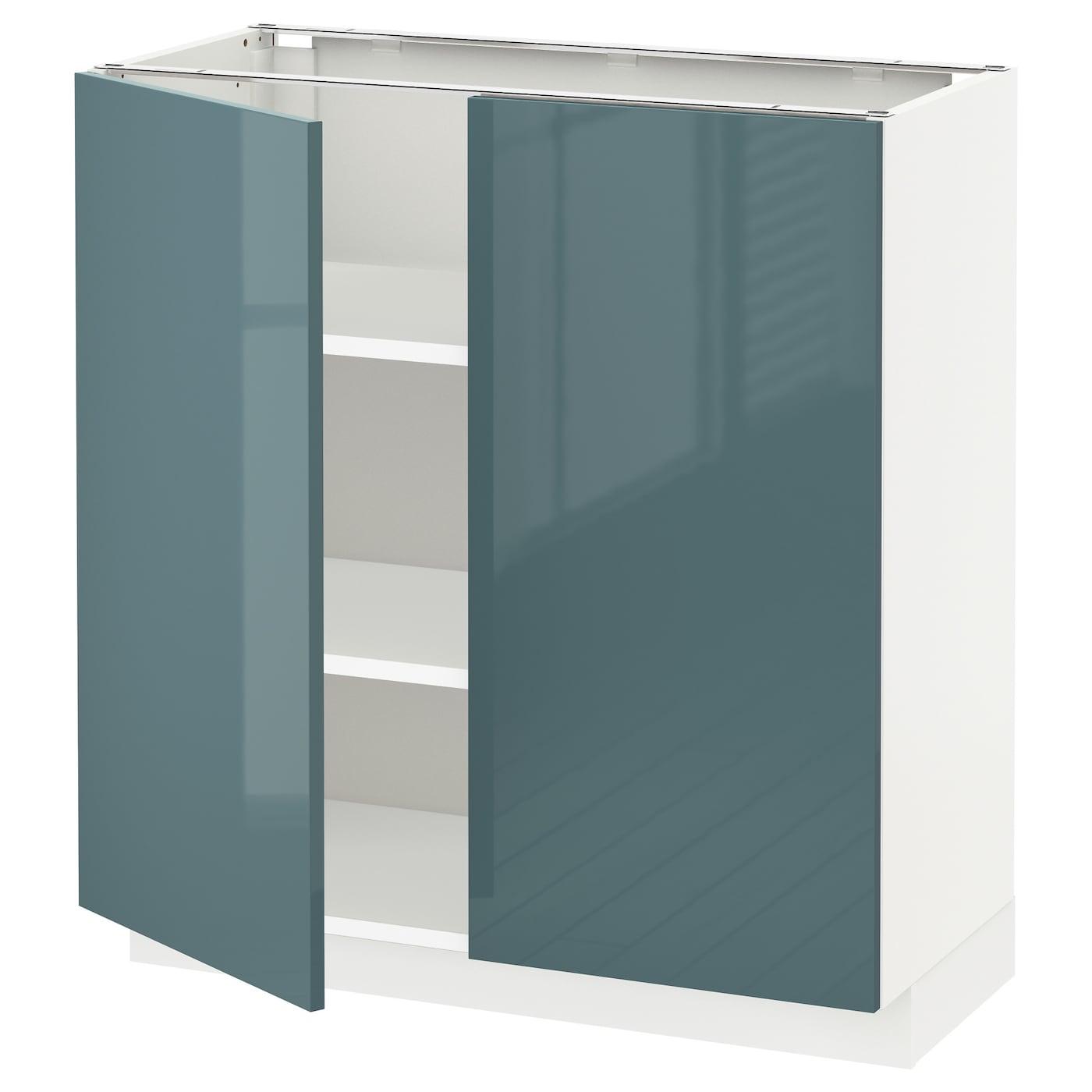 Metod Base Cabinet With Shelves 2 Doors White Kallarp Grey Turquoise