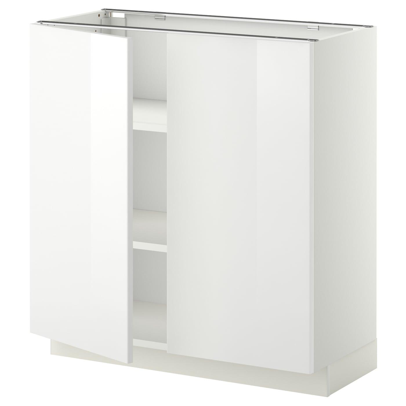 Ringhult Door High Gloss White 60 X 80 Cm: METOD Base Cabinet With Shelves/2 Doors White/ringhult