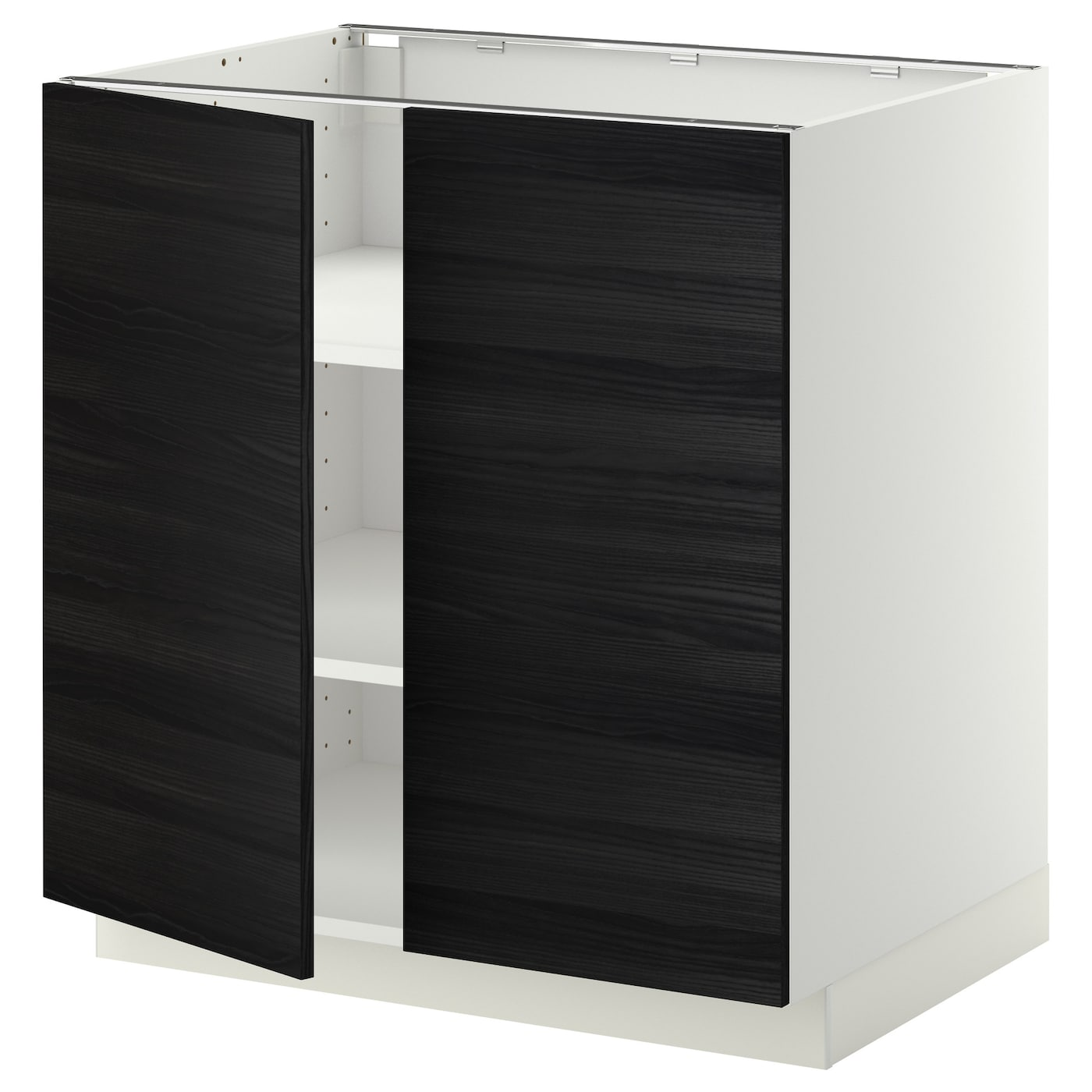 IKEA METOD base cabinet with shelves/2 doors Sturdy frame construction, 18 mm thick.