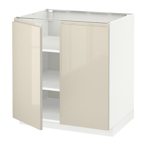 Metod Wall Cabinet With 2 Doors White Voxtorp High Gloss: METOD Base Cabinet With Shelves/2 Doors White/voxtorp High