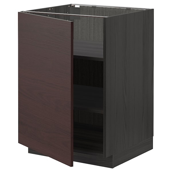 METOD Base cabinet with shelves, black Askersund/dark brown ash effect, 60x60 cm