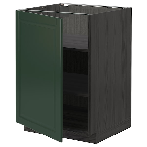 METOD Base cabinet with shelves, black/Bodbyn dark green, 60x60 cm