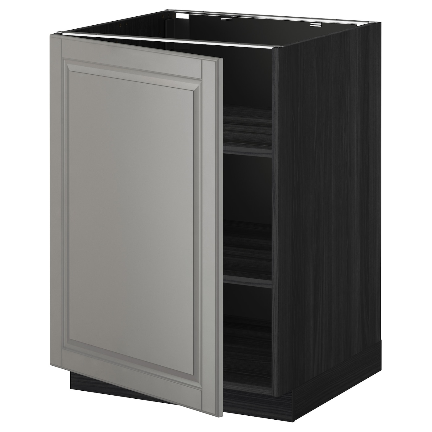 Metod Base Cabinet With Shelves Black Bodbyn Grey 60x60 Cm Ikea