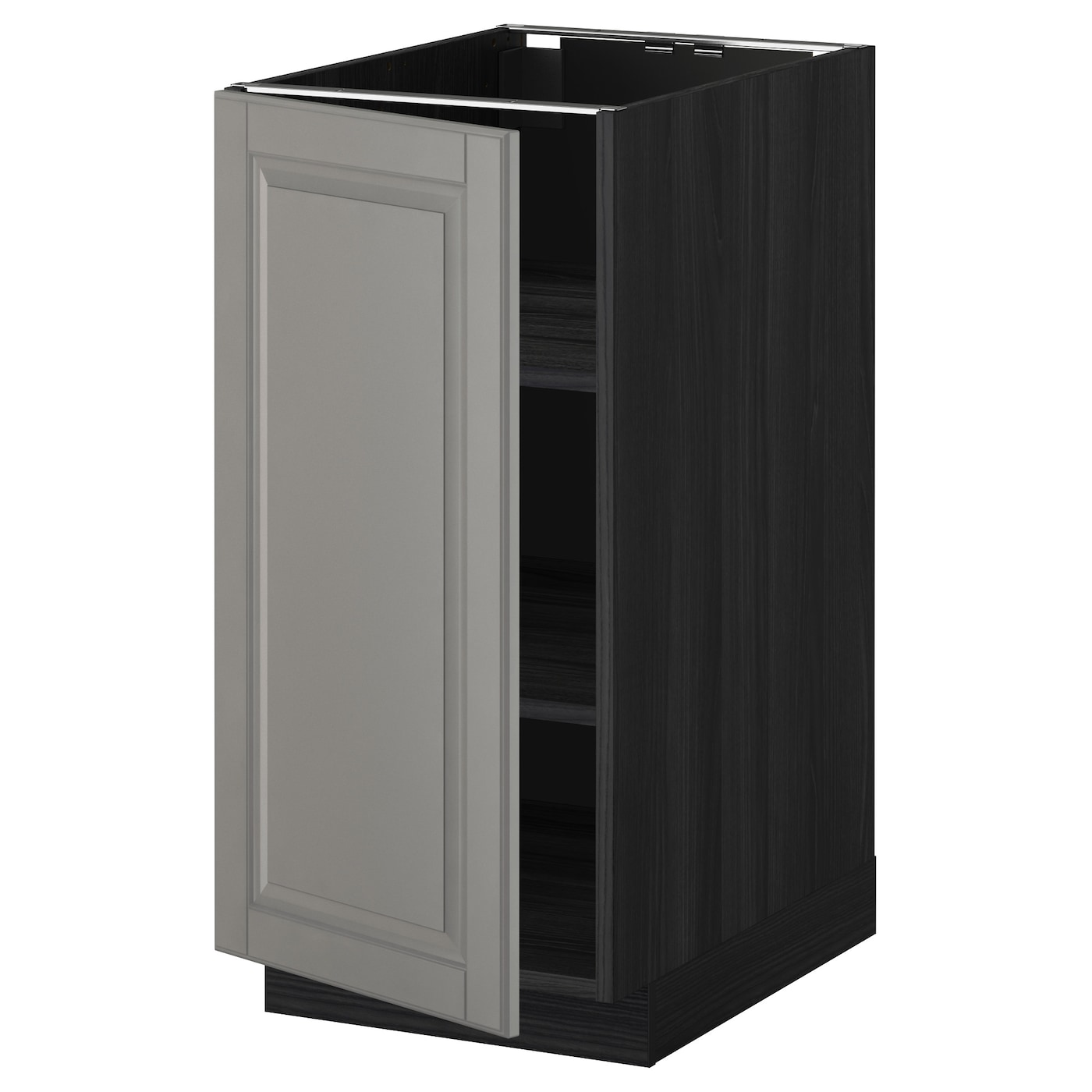 Metod base cabinet with shelves black bodbyn grey 40x60 cm for Ikea base cabinets