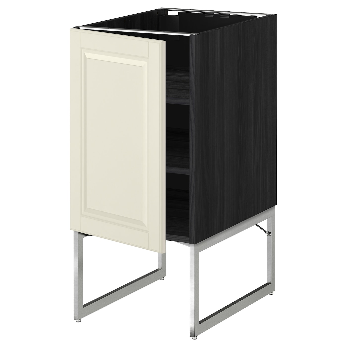 Metod base cabinet with shelves black bodbyn off white for Off the shelf kitchen units