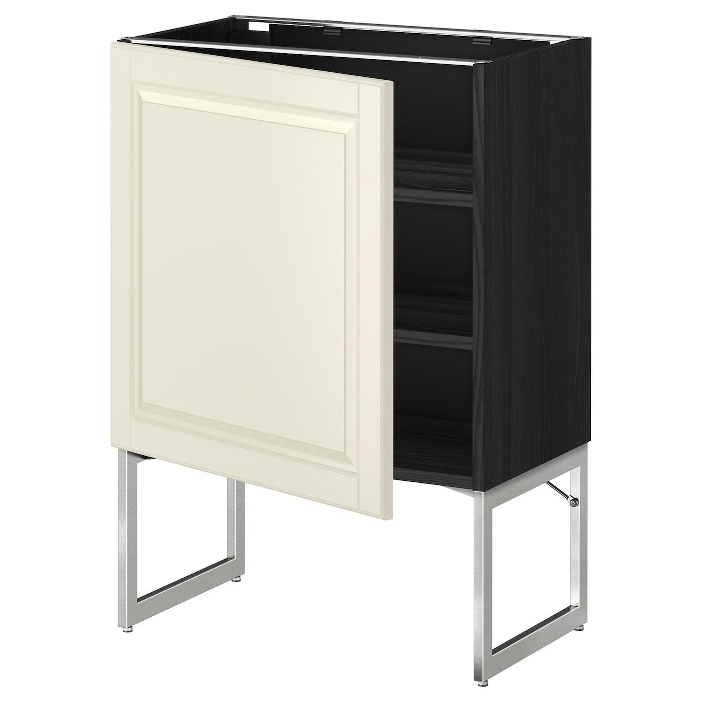 metod base cabinet with shelves black bodbyn off white 60x37x60 cm ikea. Black Bedroom Furniture Sets. Home Design Ideas