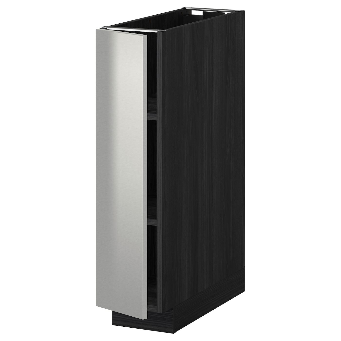 metod base cabinet with shelves black grevsta stainless. Black Bedroom Furniture Sets. Home Design Ideas