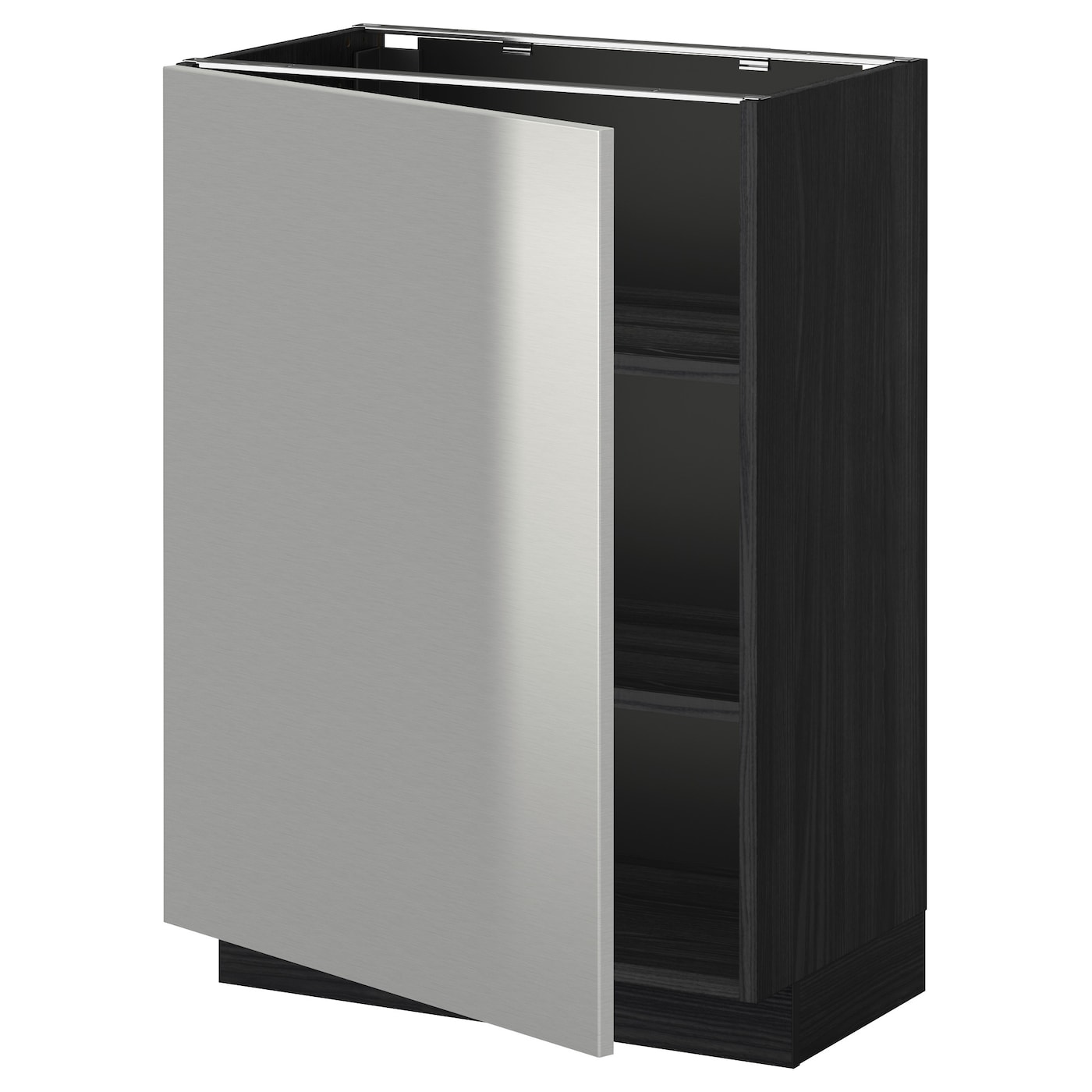 Stainless Steel Kitchen Base Cabinets: METOD Base Cabinet With Shelves Black/grevsta Stainless