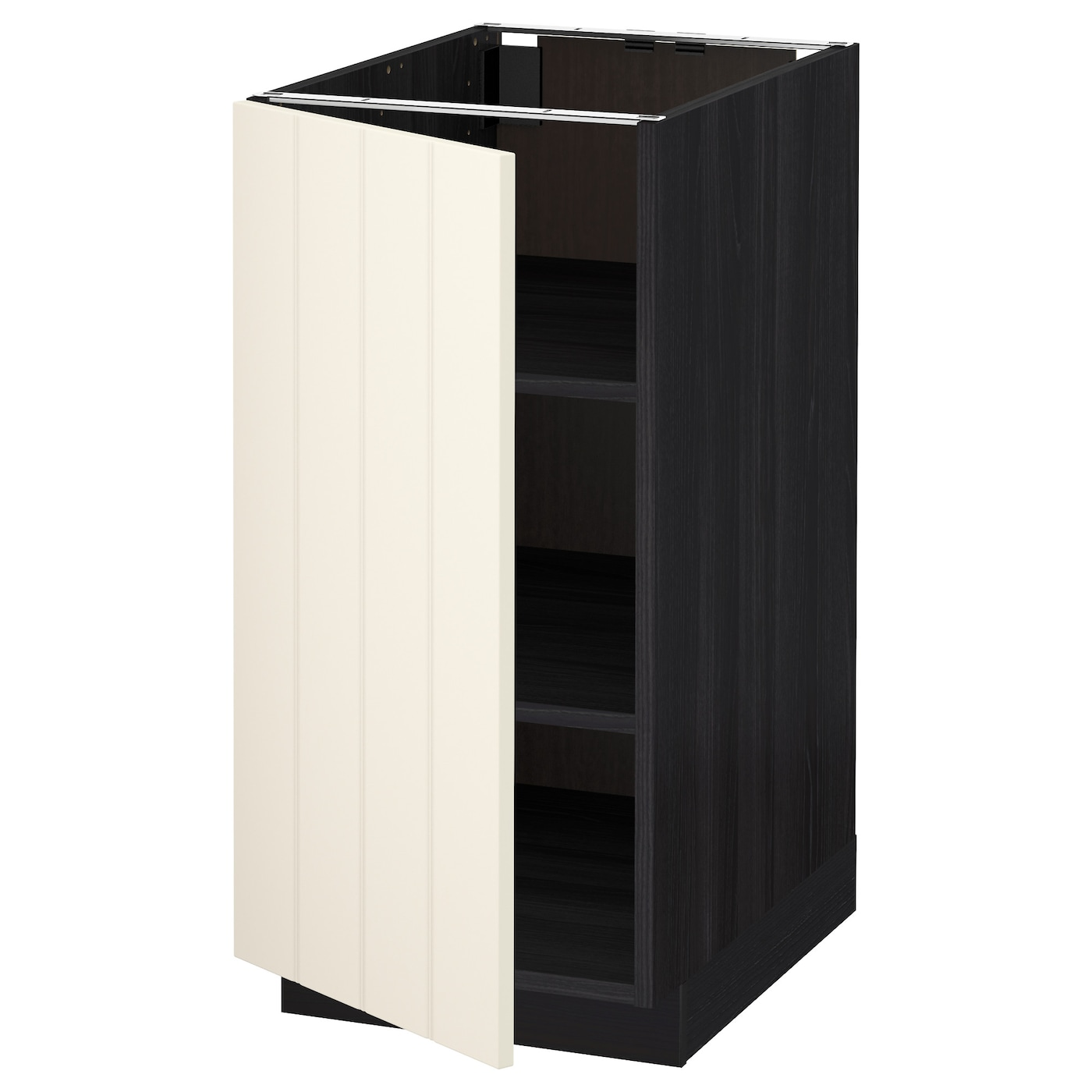 Metod base cabinet with shelves black hittarp off white for Off the shelf cabinets