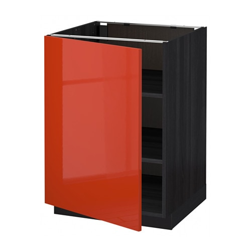 metod base cabinet with shelves black j rsta orange 60 x 60 cm ikea. Black Bedroom Furniture Sets. Home Design Ideas
