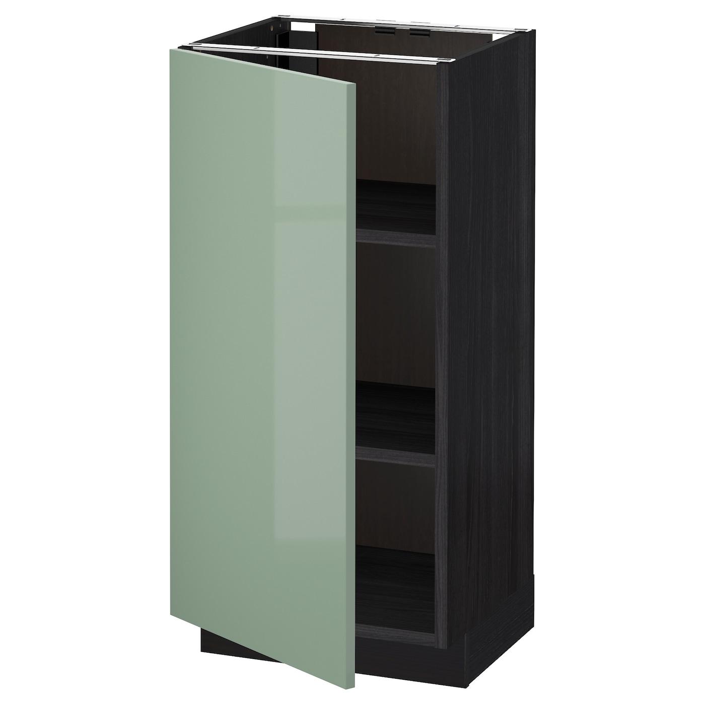 Ikea Black Kitchen Cabinets: METOD Base Cabinet With Shelves Black/kallarp Light Green
