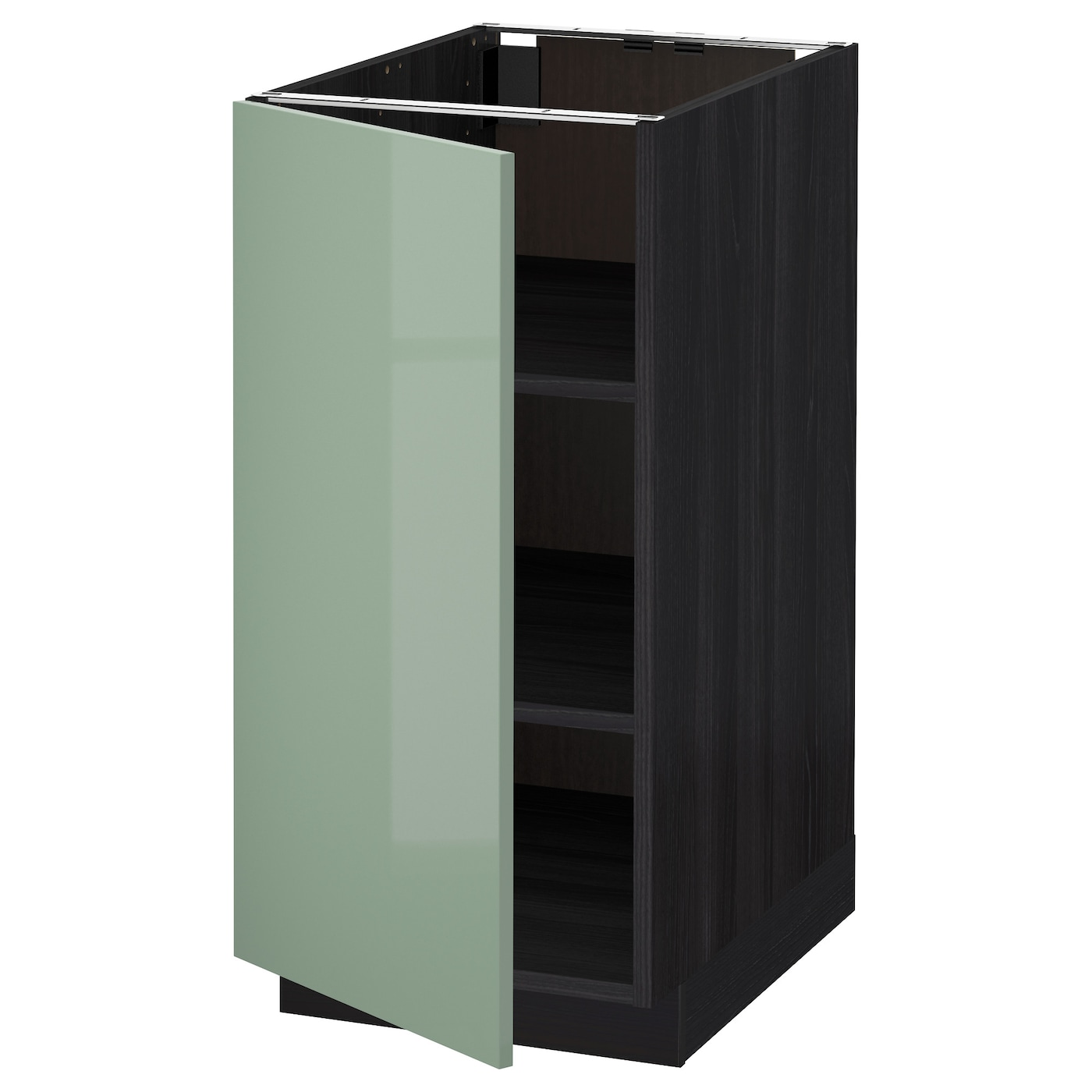 Metod Base Cabinet With Shelves Black Kallarp Light Green 40x60 Cm Ikea