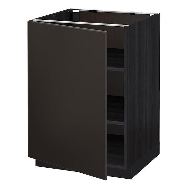 METOD Base cabinet with shelves, black/Kungsbacka anthracite, 60x60 cm