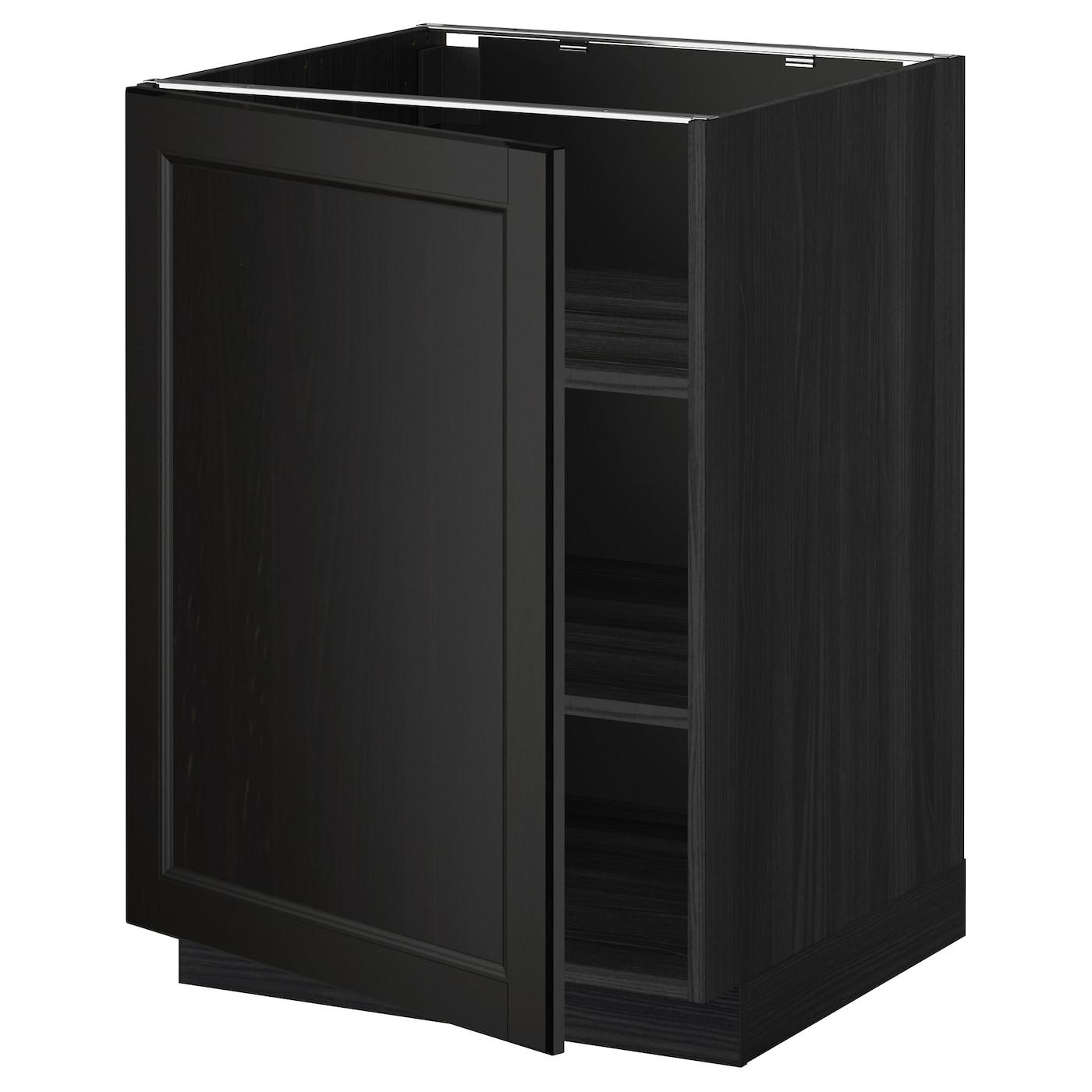 Metod Base Cabinet For Sink Black Järsta Orange 60x60 Cm: METOD Base Cabinet With Shelves Black/laxarby Black-brown
