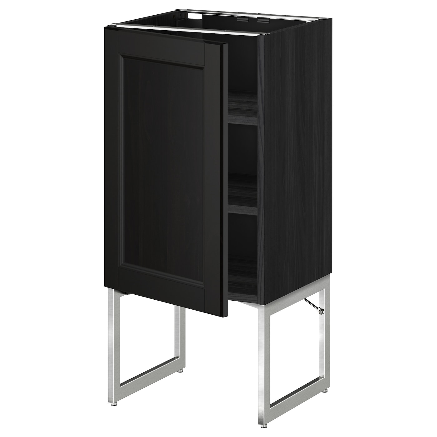Metod Base Cabinet With Shelves Black Laxarby Black Brown 40x37x60 Cm Ikea
