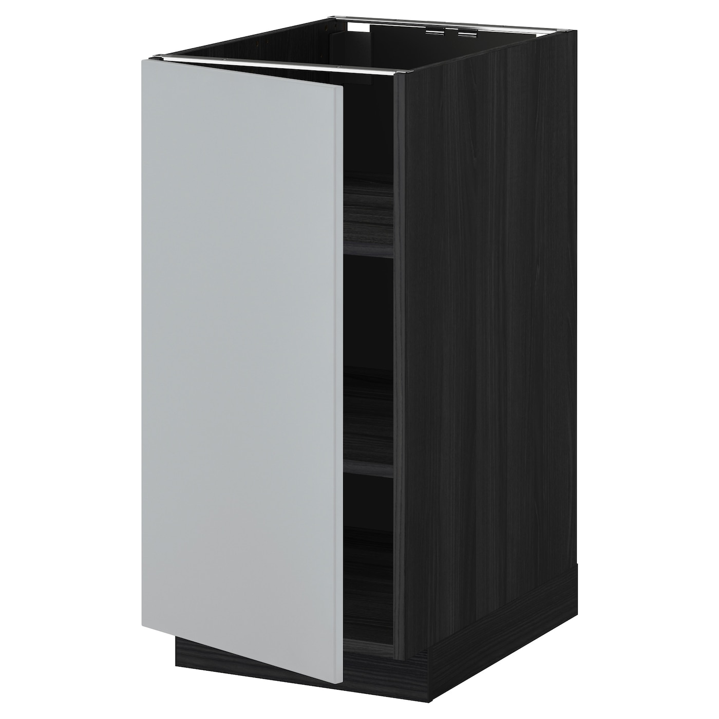 Metod base cabinet with shelves black veddinge grey 40x60 for Base cabinets