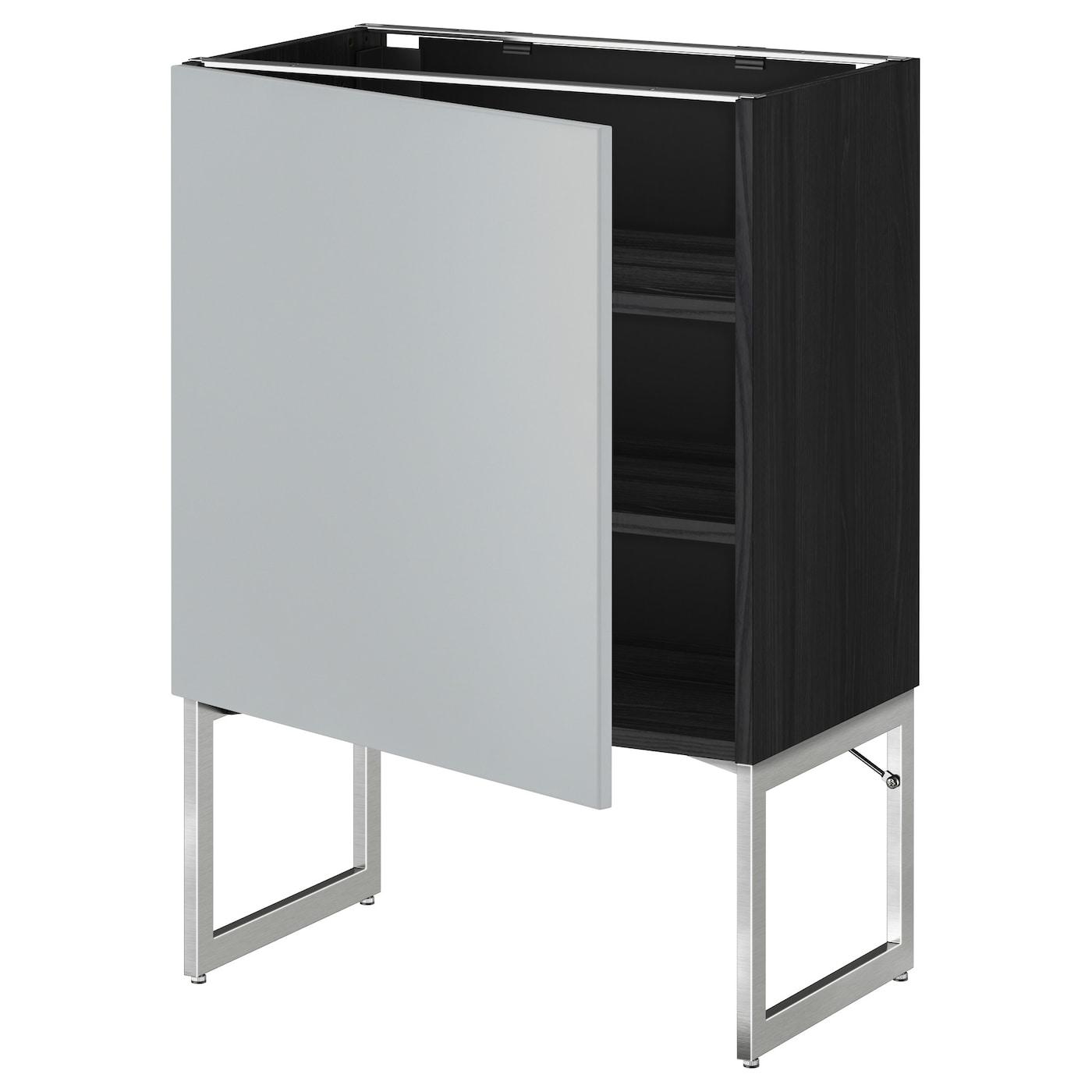 Metod base cabinet with shelves black veddinge grey for Black kitchen base cabinets
