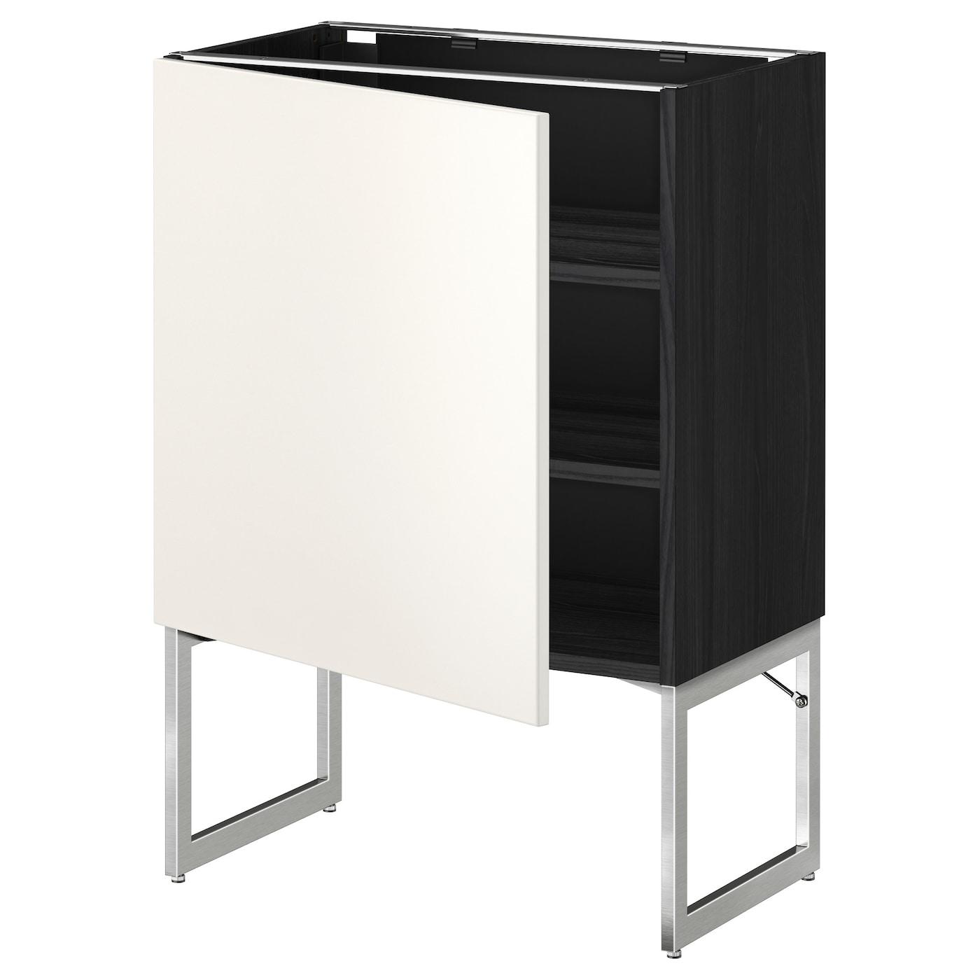 Metod base cabinet with shelves black veddinge white for Black kitchen base cabinets