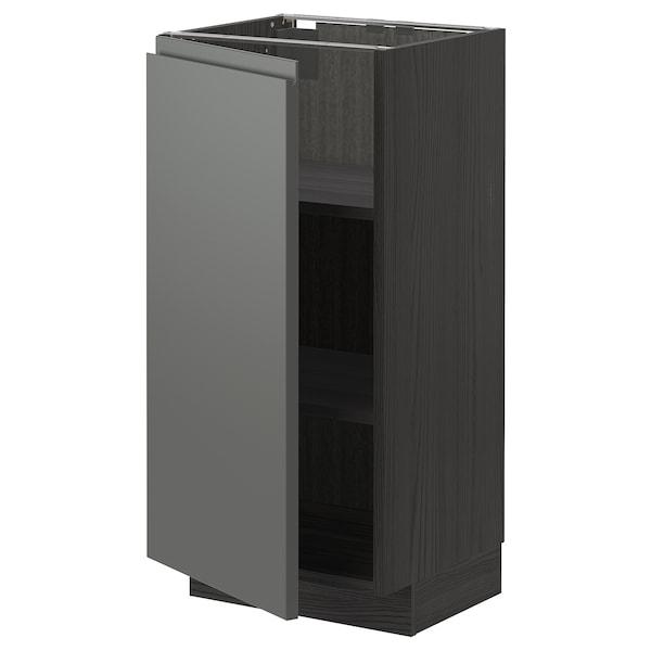 METOD Base cabinet with shelves, black/Voxtorp dark grey, 40x37 cm
