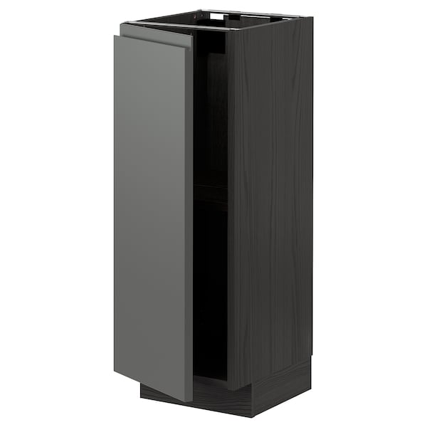 METOD Base cabinet with shelves, black/Voxtorp dark grey, 30x37 cm