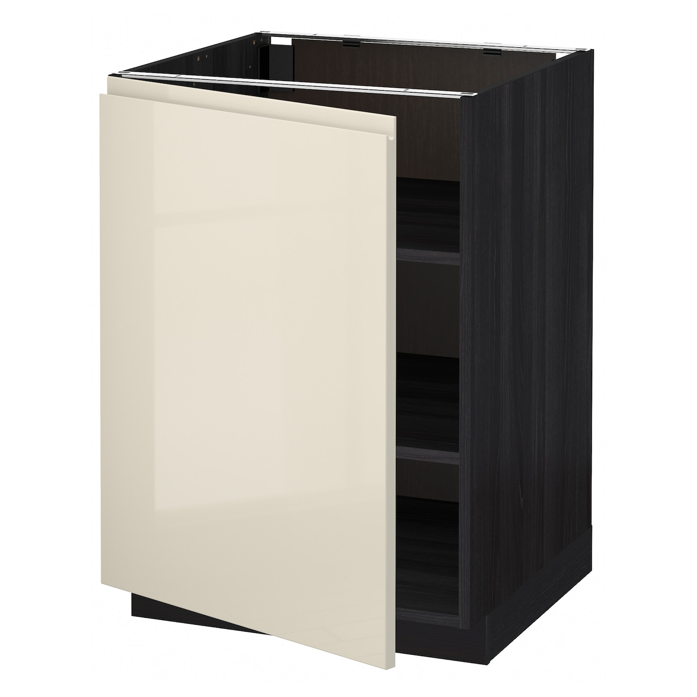 Dark Beige Kitchen Cabinets: METOD Base Cabinet With Shelves Black/voxtorp High-gloss