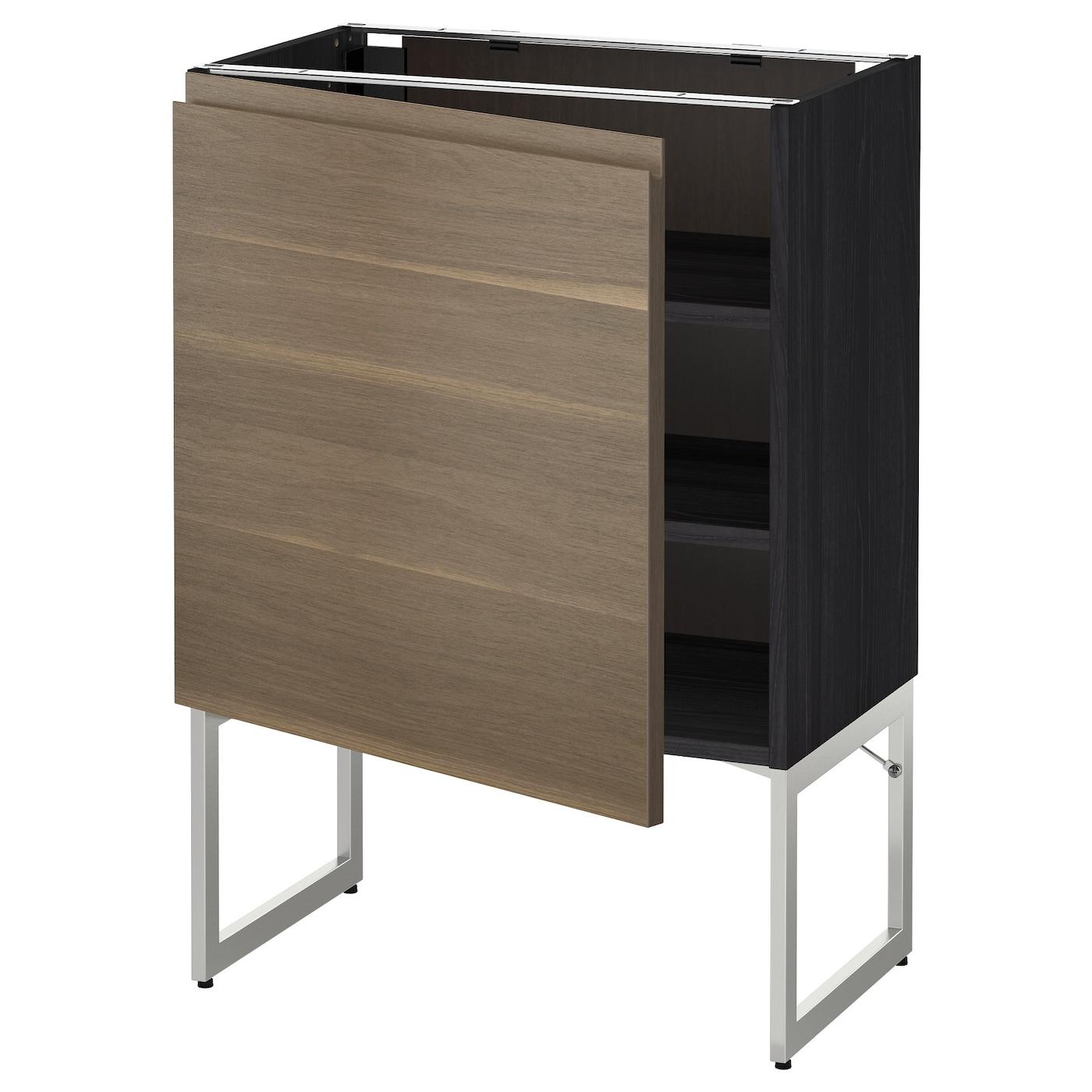 Metod base cabinet with shelves black voxtorp walnut for Black kitchen base cabinets