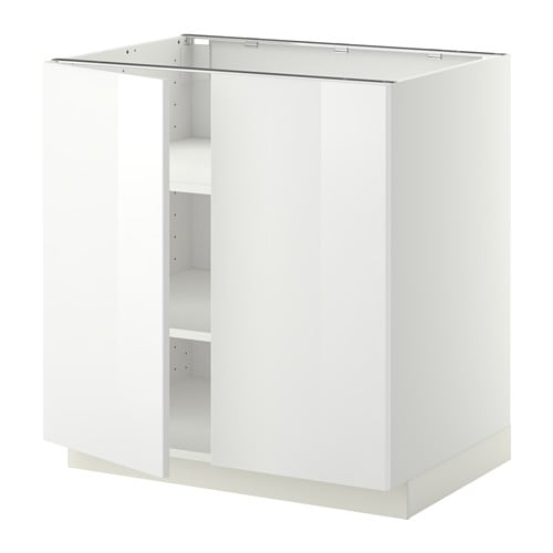 Metod base cabinet with shelves 2 doors white ringhult for Meuble 30 cm largeur