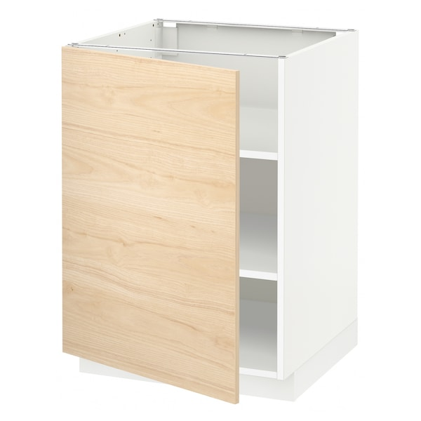METOD Base cabinet with shelves, white/Askersund light ash effect, 60x60 cm