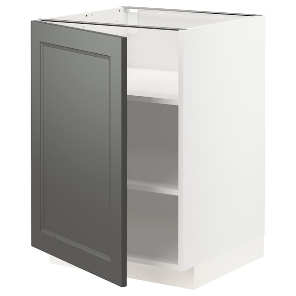 METOD Base cabinet with shelves, white/Axstad dark grey, 60x60 cm