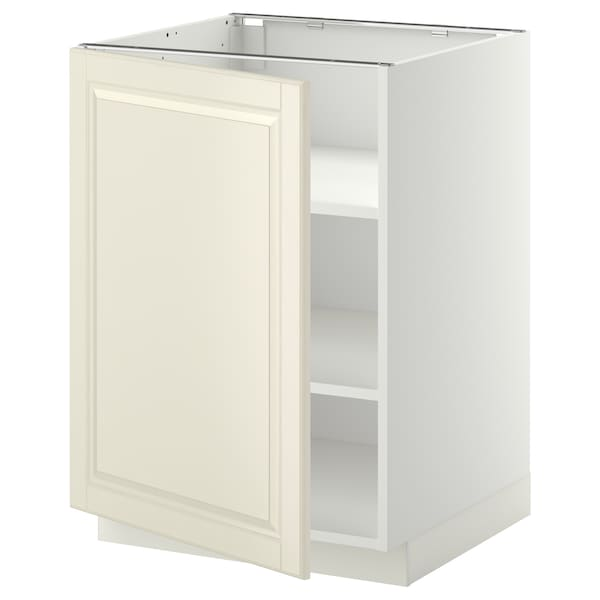 METOD Base cabinet with shelves, white/Bodbyn off-white, 60x60 cm